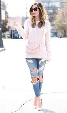 pastel sweater + ripped denim jeans