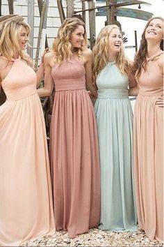 Classy Floor Length Halter Bridesmaid Dresses with Ruched