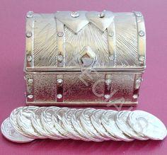 Silver Double Heart Treasure Chest Wedding Arras Box & Unity Coins Arras de Boda #weddngs #bride #bridal #Mexican #UnityCoins #WeddingArras