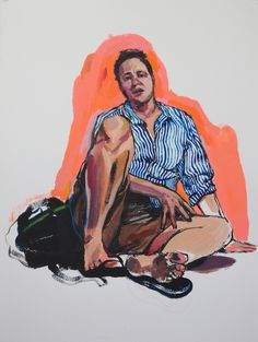 Sitting in Soup [in response to Alice Neel Drawings and Watercolors 1927-1978,February 19, 2015 - April 18, 2015,David Zwirner Gallery],2015 Acrylic on Paper 30 x 22 in.