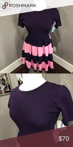 Amelia lularoe Bluish purple and pink. Says xl but fits tight LuLaRoe Dresses Midi