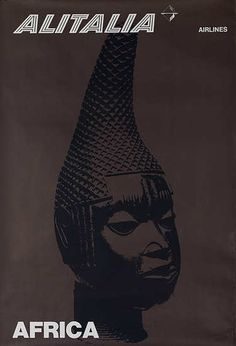 DP Vintage Posters - Alitalia Travel Poster Africa clay head figure