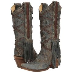 Corral Boots A3147 (Blue/Brown) Women's Boots ($246) ❤ liked on Polyvore featuring shoes, boots, knee-high boots, brown studded boots, blue fringe boots, distressed brown boots, brown knee boots and knee boots