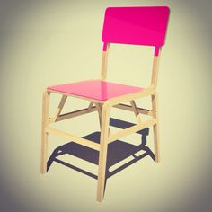 Pink Perspex and Birch plywood chair