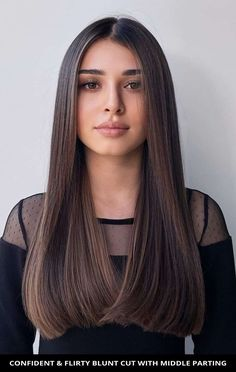 Style your hair into this popular confident & flirty blunt cut with middle parting women are getting right now! See what stylists are saying about this look and the rest of these 21 most flattering examples of middle part hairstyles. // Photo Credit: @oladementeva on Instagram Middle Parts, The Middle, Middle Part Hairstyles, Joy Instagram, Blunt Cuts, Beautiful Long Hair, Latest Hairstyles, Hair Lengths, Hair Trends