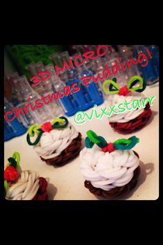 3D MICRO Christmas Pudding Charm Rainbow Loom Tutorial Loom Band Charms, Loom Band Bracelets, Loom Bracelet Patterns, Rainbow Loom Christmas, Rainbow Loom Charms, Rainbow Loom Bracelets, Rainbow Loom Tutorials, Rainbow Loom Patterns, Rainbow Loom Creations