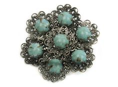1950s 1960s Silver Tone Metal Robin Egg Blue Turquoise Stones