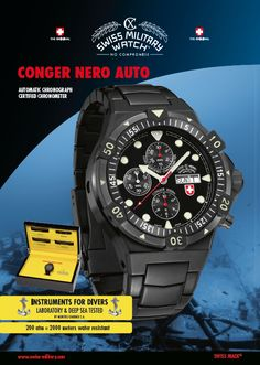 The brand new release of CX Swiss Military Watch: CONGER AUTO NERO