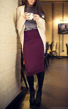 d7e33c2b9616 Plum pencil skirt   tights with suede pumps. I love the creme cardigan    faded grey tee with this look. Eileen Winters · Interview   Biz Clothes