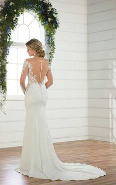 D2488 Sexy Wedding Dress with Off-the-Shoulder Lace Sleeves by Essense of Australia
