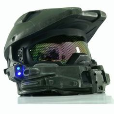 Halo 4 Helmet Mask Master Chief Helmet with Blue Flash LED Light, Master Chief Cosplay Armor with Honeycomb Glass (Deluxe Version) xcoser Master Chief Cosplay, Halo Master Chief Helmet, Airsoft Full Face Mask, Airsoft Mask, Dual Sport Helmet, Shop Geek, Halo Armor, Cosplay Armor, Head Mask