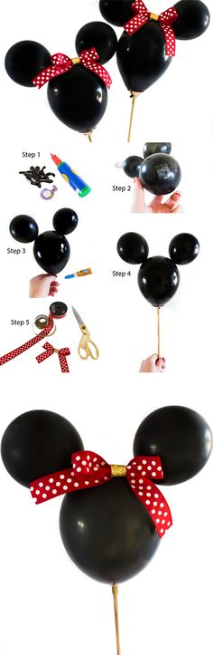 DIY Minnie Mouse Balloons from Partyography | www.partyographybyalli.com ... #MinnieMouse #disney #3rdbirthdaypartyideas #partyography #partyplanning #partydesign #4thbirthday #partyideas #partyfavors #diy #mickeymouse #balloons #balloonwands #minniemouseparty