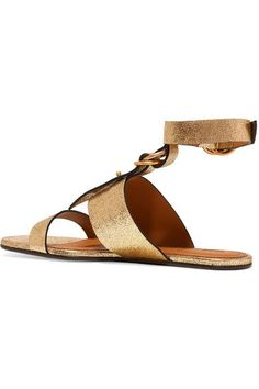 Chloé - Metallic Cracked-leather Sandals - Gold - IT35.5