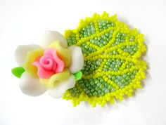 Cute Beaded Flower Hair Clip   Megan's Beaded Designs