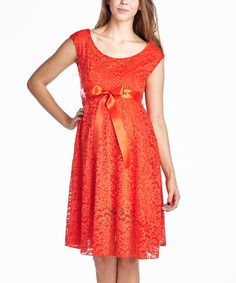 Look at this Coral Floral Lace Maternity Scoop Neck Dress on #zulily today!