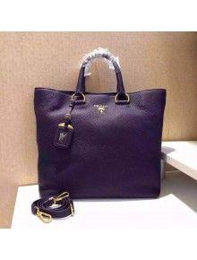 Prada BN1713 Pebbled Leather Tote Bag Purple $318