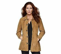 Dennis Basso Washable Suede Turnkey Jacket with Animal Print Lining