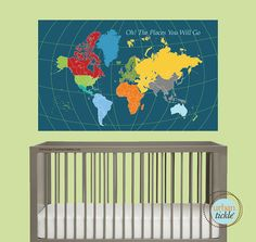 World Map Decal for Kids, World Map Sticker, 30X48 Inches, Nursery Decor, Baby Room, Play room ideas on Etsy, $69.00