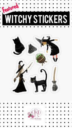 Halloween Stickers, Cat Stickers, Halloween Stuff, Funny Stickers, Print Store, Gifts For Girls, Birthday Cards, Custom Design, Witch