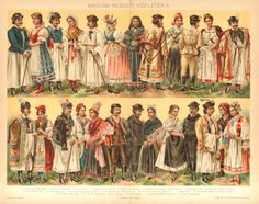 1896 Hungarian National Costumes Folk Dresses or Traditional