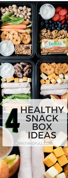 4 Healthy Snack Box Ideas Looking for healthier snack options? Try one of these 4 Healthy Snack Box Ideas. For less than $10 and 30 minutes or less, you can have easy nutritious snack/ lunch boxes waiting ready to enjoy at a moment's notice!