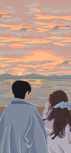 Cute Black Wallpaper, Cute Couple Wallpaper, Anime Scenery Wallpaper, Cute Patterns Wallpaper, Cute Wallpaper Backgrounds, Cute Cartoon Wallpapers, Cute Couple Drawings, Cute Couple Art, Cute Drawings