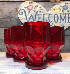 Set of 4 Fenton Large Ruby Red Georgian 14 oz Flat Tumbler Fenton Glassware, Antique Glassware, Stainless Steel Knife Set, Blue Willow China, Antique Dishes, House Inspirations, Red Kitchen, Christmas Table Decorations, Ship Art