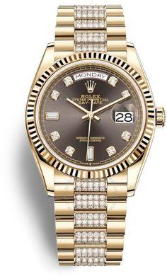 Day-Date 36 Dark Grey Dial 18kt Yellow Gold Diamond-Set President Watch 128238CSDP Rolex Watches, Watches For Men, Rolex Day Date, 3 O Clock, Gold Hands, Automatic Watch, Gold Watch, Dark Grey, Dating