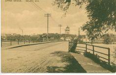 Beloit WI Postcard Vintage Upper bridge,Old Card