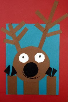 Reindeer by shape! Call out disc riptide words to build without showing the students the product they are making till the end! Awesome listening activity!!!!! Please glue your large black circle in the center of your page..... Next glue your longest rectangles on top of your large circle! Awesome for listening, shapes, and positional words!!!!