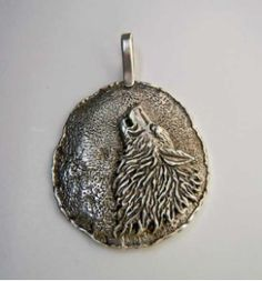 Rustic Sterling Silver Wolf Pendant