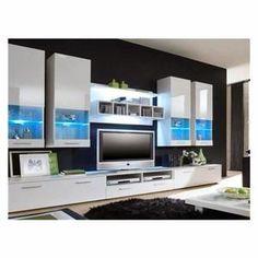 Meuble Tv Meuble tv design mural Raken blanc et blanc