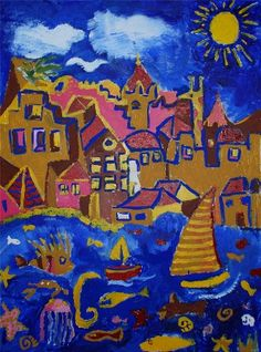 City of Our Dreams -mural by children at 2007 WCF. I think I would hang a framed version of this up in my kids room. Really captures teh essence of a coastal town.