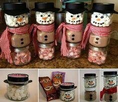 These Hot Cocoa Snowmen are very cute and easy to make . They would be nice Christmas gift . The post The Perfect DIY Hot Cocoa Snowman Gift for Christmas appeared first on The Perfect DIY. hot chocolate snowman gift - I like mason jar idea better, but ad Homemade Christmas Gifts, Christmas Fun, Christmas Decorations, Awesome Christmas Gifts, Christmas Recipes, Christmas Carol, Christmas Ideas For Gifts Diy, Handmade Christmas, Christmas Gifts For Neighbors