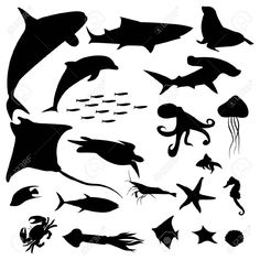 Illustration of Aquatic life silhouettes pack vector art, clipart and stock vectors. Shark Silhouette, Silhouette Clip Art, Animal Silhouette, Machine Silhouette Portrait, Photographie Street Art, Animal Stencil, Silhouettes, Shadow Puppets, Ocean Creatures