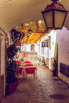 Street Cafe in Albufeira - Portugal. Lots of lovely places to eat. But I ate chicken in all of them haha....