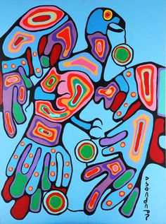 Kaha:wi Dance Theatre's production of TransMigration is inspired by the life and paintings of iconic Ojibwe shaman-artist Norval Morrisseau. Thunderbird by Norval Morrisseau Native American Paintings, Native American Art, Style Tribal, Kunst Der Aborigines, Canadian Artists, Canadian Painters, Woodland Art, Les Religions, Indigenous Art