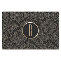 Rustic Glamour Burlap Royal Damask Chic Monogram Tissue Paper - modern gifts cyo gift ideas personalize