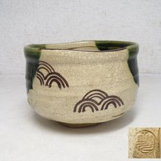 Japanese Vintage ORIBE pottery (織部焼 Oribe-yaki) Tea Bowl
