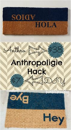 Anthropologie Hack: DIY Dual Greeting Welcome Mat.  Make this $38 welcome mat for less then $7.