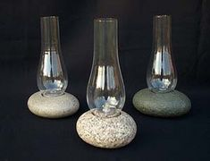 Natural stone vases, functional artistic granite decor, rustic twig furniture and accessories, hand made in Montville Maine by Mark Guido. Plywood Furniture, Twig Furniture, Rock Lamp, Stone Lamp, Large Lamps, Lamp Design, Design Design, Hurricane Lamps, Candle Lamp