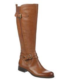 Brown Jovana Wide-Calf Leather Boot #zulily #zulilyfinds