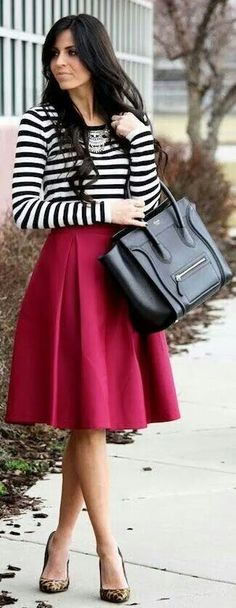 Striped top with red skirt