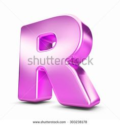 3d pink purple metal letter R isolated white background