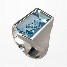 Atelier Munsteiner Mantis Cut Aquamarine Mens Ring