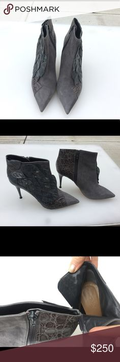 Authentic suede Chloe booties with alligator skin 100% authentic suede grey Chloe booties with unique petal/feather pattern and alligator skin accent. Worn 2 times. Great condition as seen in above photos. Chloe Shoes Ankle Boots & Booties