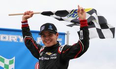 Kyle Larson, driver of the Autism Speaks Chevrolet, celebrates after winning the NASCAR Camping World Truck Series Carolina 200 at Rockingham Speedway on April 2013 Photo - Streeter Lecka/Getty Images Racing News, Nascar Racing, Kyle Larson, Sprint Cars, Camping World, Indy Cars, Formula One, North Carolina, Chevrolet