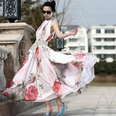 Women's+Floral+Pink+Dress,+Vintage/Maxi+Stand+Ruff+Collar+Sleeveless+Swing+-+AUD+$18.58