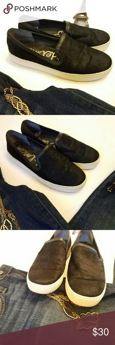 Sam Edelman Becker Sneaker Black calf hair slip on sneaker. These are in good used condition. So comfortable, wore a handful of times. Sam Edelman Shoes Sneakers