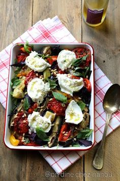 Auberginen, Paprika, Zucchini, Burrata, Basilikum - To cook - Veggie Recipes, Salad Recipes, Vegetarian Recipes, Healthy Recipes, Detox Recipes, Ketogenic Recipes, Healthy Cooking, Cooking Recipes, Gourmet Recipes